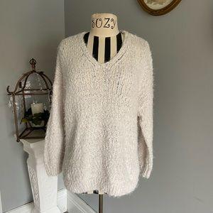Altar'd State soft chunky white v neck sweater